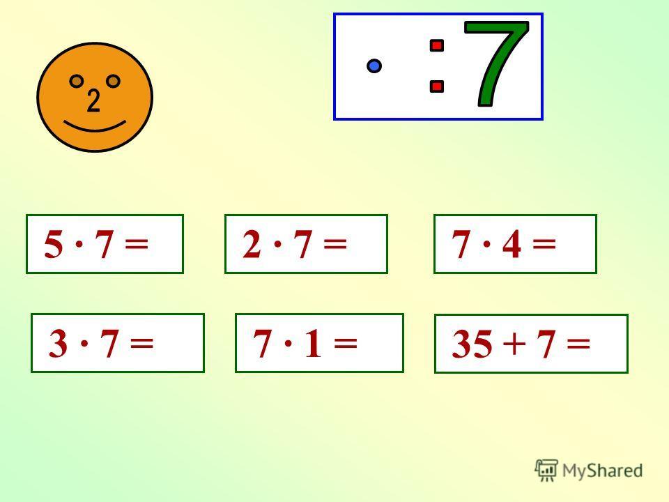 5 х 7 = 35 7 х 5 = 35 35 : 5 = 7 35 : 7 = 5