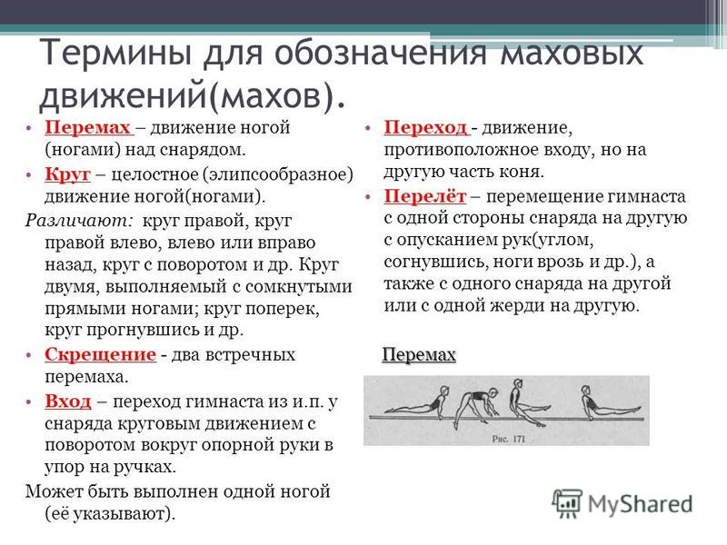 Термины для обозначения маховых движений(махов). Перемах – движение ногой (ногами) над снарядом. Круг – целостное (элипсообразное) движение ногой(ногами). Различают: круг правой, круг правой влево, влево или вправо назад, круг с поворотом и др. Круг