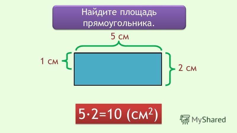 Найдите площадь прямоугольника. 5·2=10 (см 2 ) 5 см 1 см 2 см