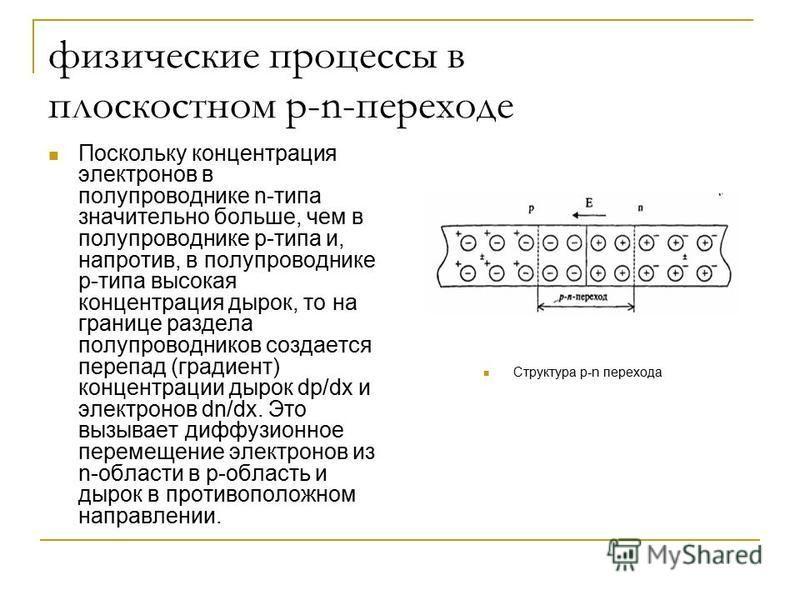 физические процессы в плоскостном p-n-переходе Поскольку концентрация электронов в полупроводнике n-типа значительно больше, чем в полупроводнике p-типа и, напротив, в полупроводнике p-типа высокая концентрация дырок, то на границе раздела полупровод