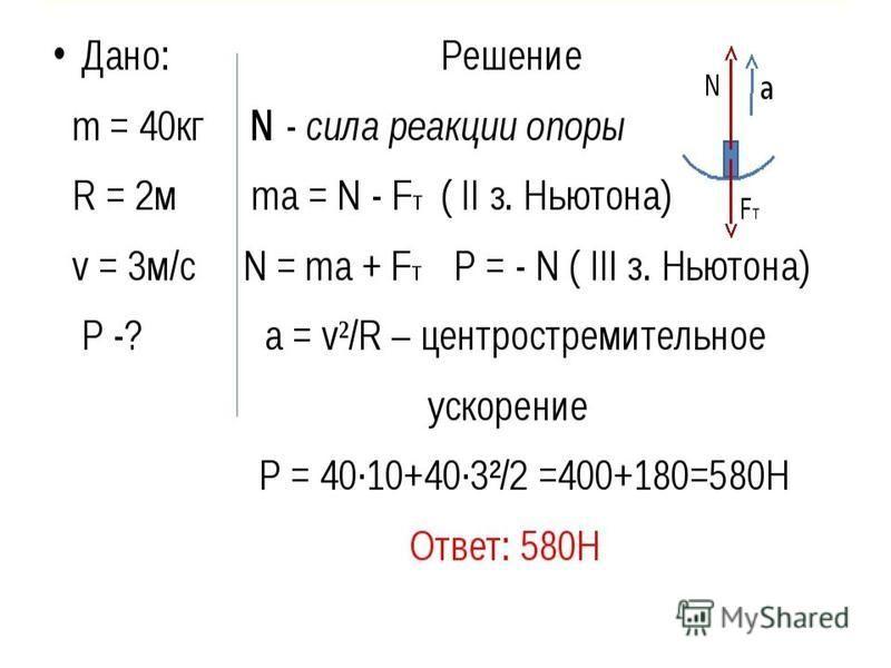 Дано: Решение m = 40 кг N - сила реакции опоры R = 2 м ma = N - FT ( II з. Ньютона) v = 3 м/с N = ma + FT Р = - N ( III з. Ньютона) P -? a = v²/R – центростремительное ускорение Р = 40·10+40·3²/2 =400+180=580H Ответ: 580Н N FT a