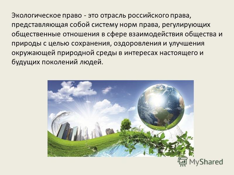 Экологическое право - это отрасль российского права, представляющая собой систему норм права, регулирующих общественные отношения в сфере взаимодействия общества и природы с целью сохранения, оздоровления и улучшения окружающей природной среды в инте