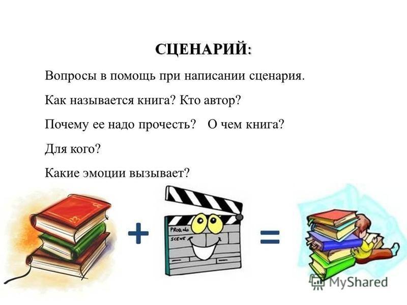 Вопросы в помощь при написании сценария. Как называется книга? Кто автор? Почему ее надо прочесть? О чем книга? Для кого? Какие эмоции вызывает?