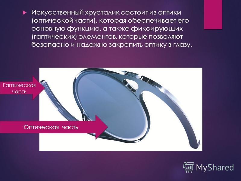 Искусственный хрусталик состоит из оптики (оптической части), которая обеспечивает его основную функцию, а также фиксирующих (гаптических) элементов, которые позволяют безопасно и надежно закрепить оптику в глазу. Гаптическая часть Оптическая часть