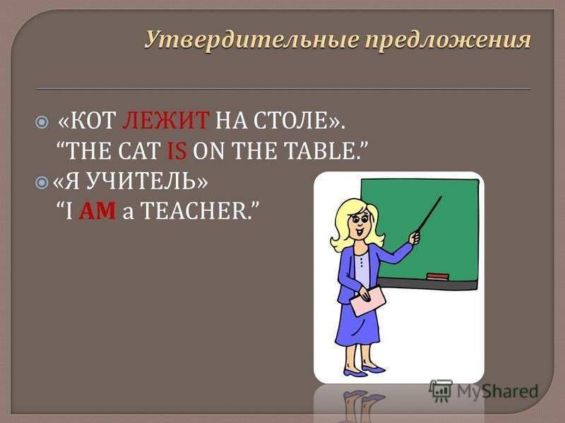 « КОТ ЛЕЖИТ НА СТОЛЕ ». THE CAT IS ON THE TABLE. « Я УЧИТЕЛЬ » I AM а TEACHER.
