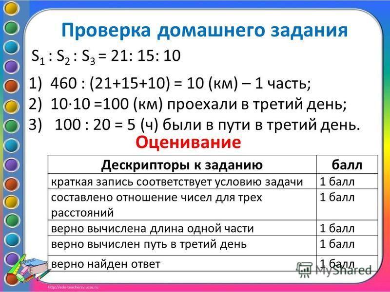 Проверка домашнего задания S 1 : S 2 : S 3 = 21: 15: 10 1)460 : (21+15+10) = 10 (км) – 1 часть; 2)10·10 =100 (км) проехали в третий день; 3) 100 : 20 = 5 (ч) были в пути в третий день. Оценивание Дескрипторы к заданию балл краткая запись соответствуе