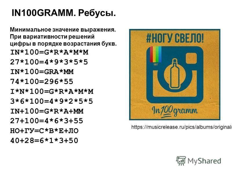 IN100GRAMM. Ребусы. Минимальное значение выражения. При вариативности решений цифры в порядке возрастания букв. IN*100=G*R*A*M*M 27*100=4*9*3*5*5 IN*100=GRA*MM 74*100=296*55 I*N*100=G*R*A*M*M 3*6*100=4*9*2*5*5 IN+100=G*R*A+MM 27+100=4*6*3+55 НО+ГУ=С*