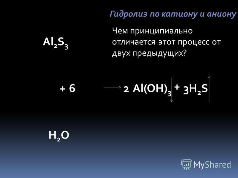 Al 2 S 3 H2OH2O +Al(OH) 3 + H2SH2S236 Гидролиз по катиону и аниону Чем принципиально отличается этот процесс от двух предыдущих?