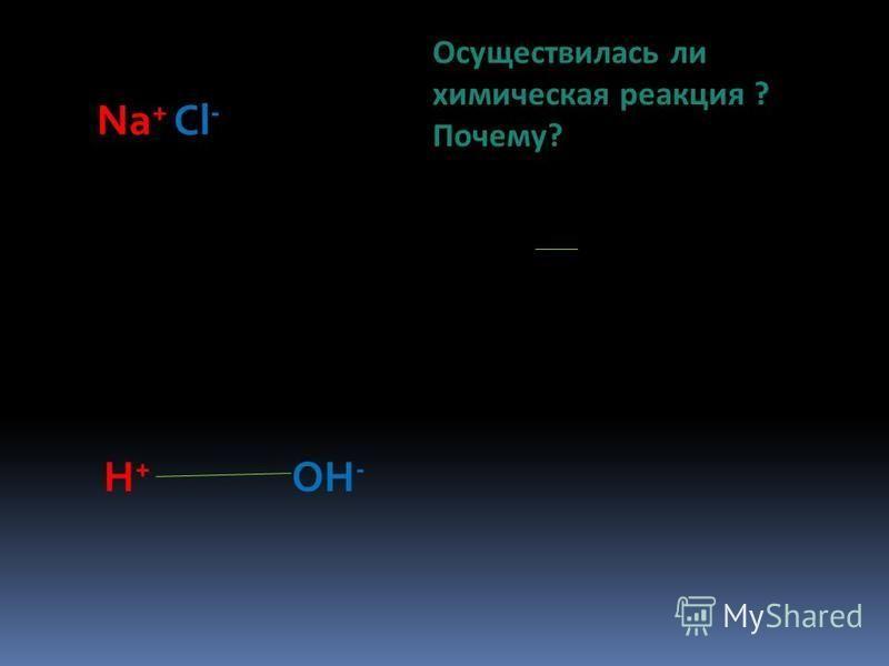 Na + Cl - H+H+ OH - Осуществилась ли химическая реакция ? Почему?