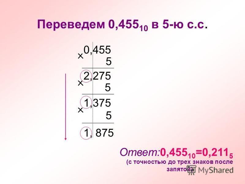 Переведем 0,455 10 в 5-ю с.с. 0,455 5 2,275 5 1,375 5 1, 875 Ответ:0,455 10 =0,211 5 (с точностью до трех знаков после запятой)