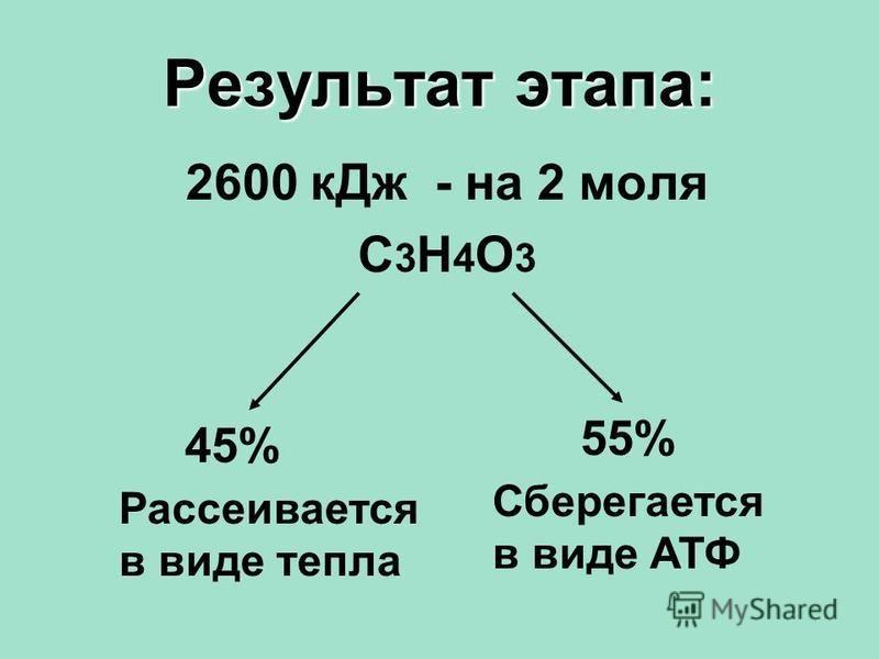 Результат этапа: 2600 к Дж - на 2 моля С3Н4О3С3Н4О3 45% Рассеивается в виде тепла Сберегается в виде АТФ 55%