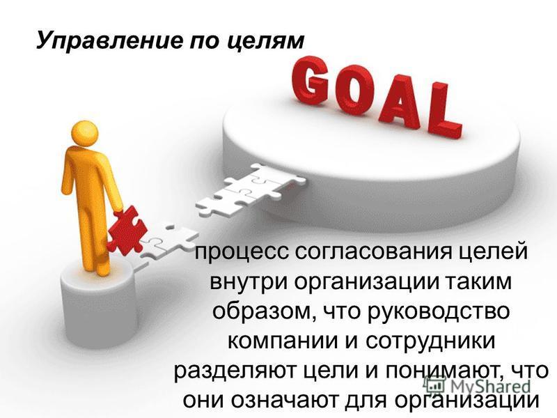 Управление по целям процесс согласования целей внутри организации таким образом, что руководство компании и сотрудники разделяют цели и понимают, что они означают для организации