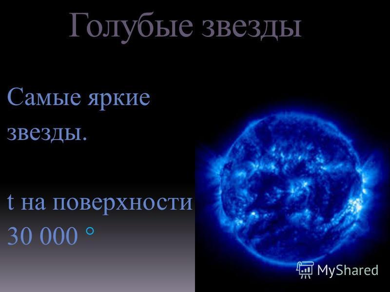 Голубые звезды Самые яркие звезды. t на поверхности 30 000 °