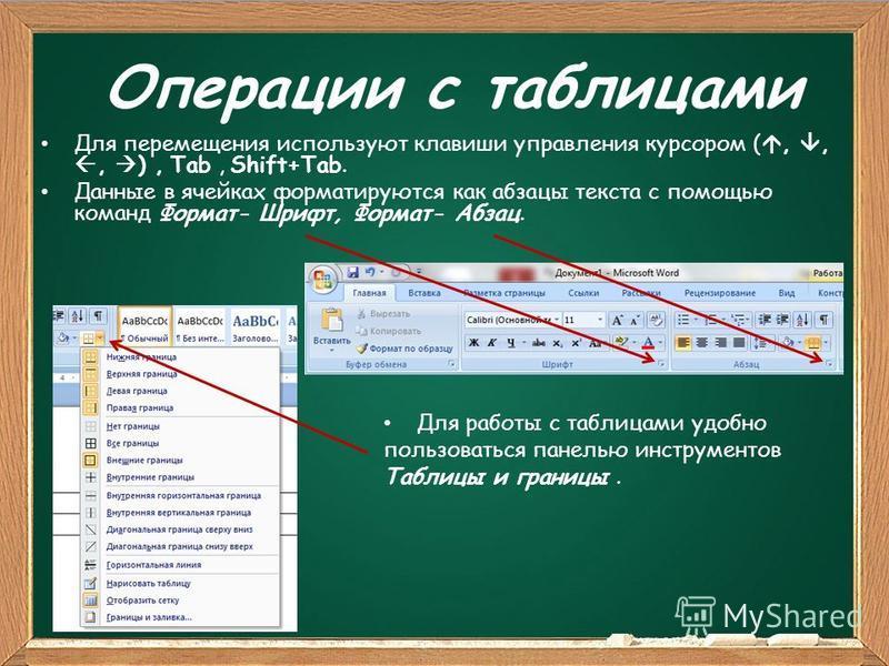Операции с таблицами Для перемещения используют клавиши управления курсором (,,, ), Tab, Shift+Tab. Данные в ячейках форматируются как абзацы текста с помощью команд Формат- Шрифт, Формат- Абзац. Для работы с таблицами удобно пользоваться панелью инс