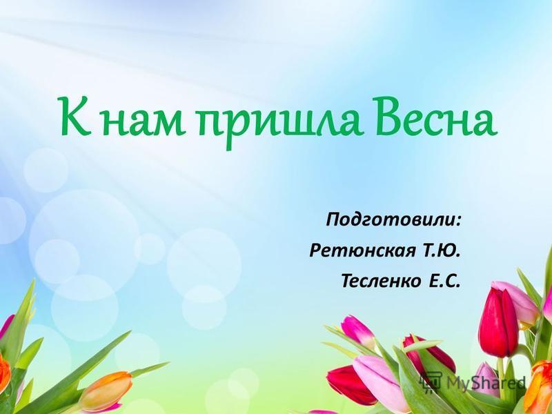 К нам пришла Весна Подготовили: Ретюнская Т.Ю. Тесленко Е.С.