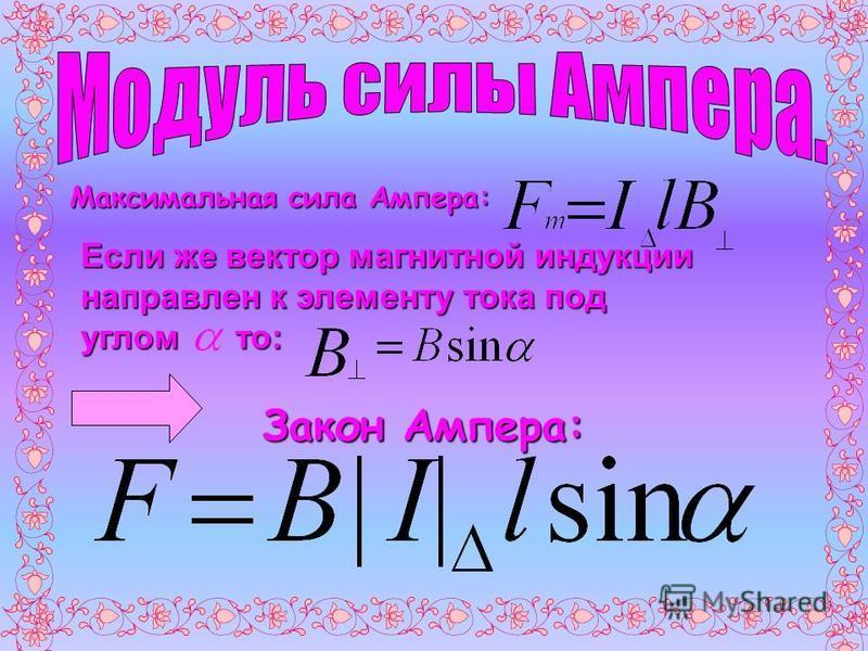 Максимальная сила Ампера: Если же вектор магнитной индукции направлен к элементу тока под углом то: Закон Ампера: