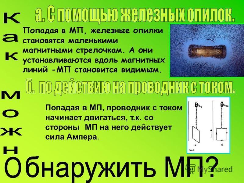 Попадая в МП, железные опилки становятся маленькими магнитными стрелочкам. А они устанавливаются вдоль магнитных линий -МП становится видимым. Попадая в МП, проводник с током начинает двигаться, т.к. со стороны МП на него действует сила Ампера.