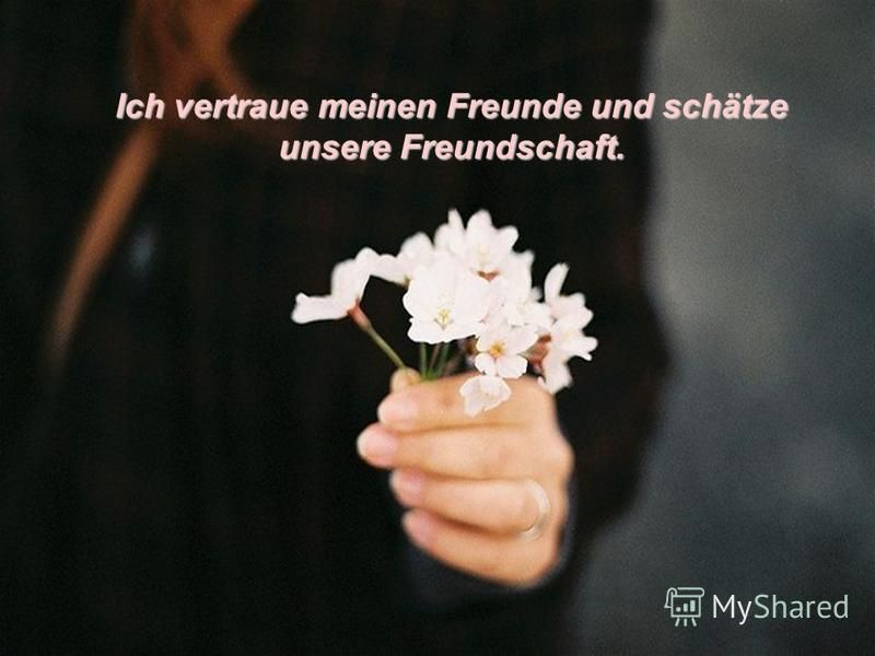 Ich vertraue meinen Freunde und schätze unsere Freundschaft.