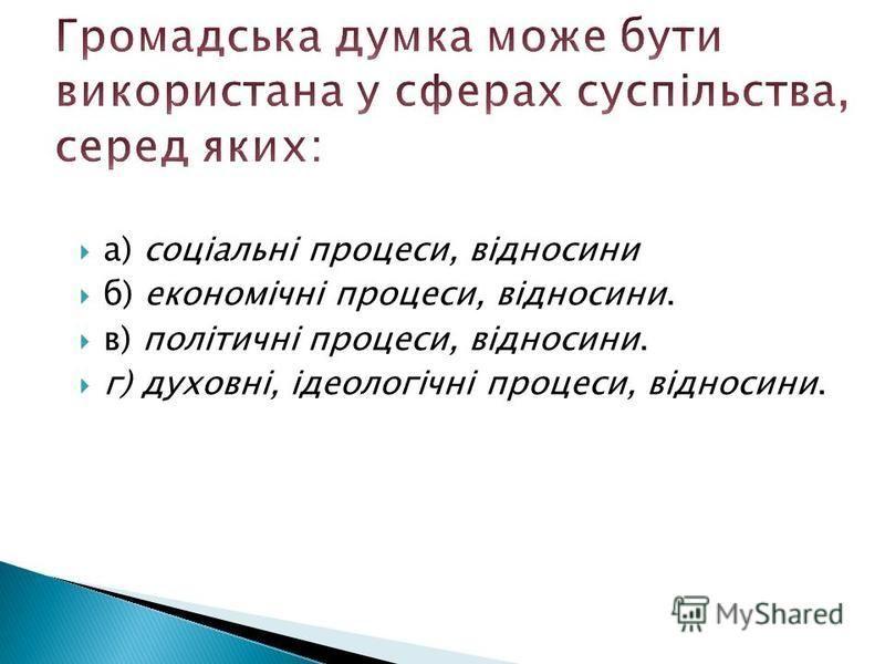 а) соціальні процеси, відносини б) економічні процеси, відносини. в) політичні процеси, відносини. г) духовні, ідеологічні процеси, відносини.