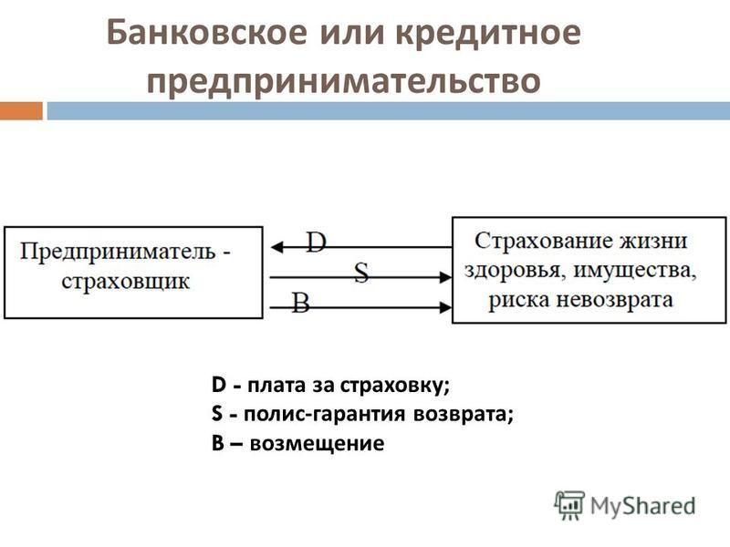 Банковское или кредитное предпринимательство D - плата за страховку ; S - полис - гарантия возврата ; B – возмещение