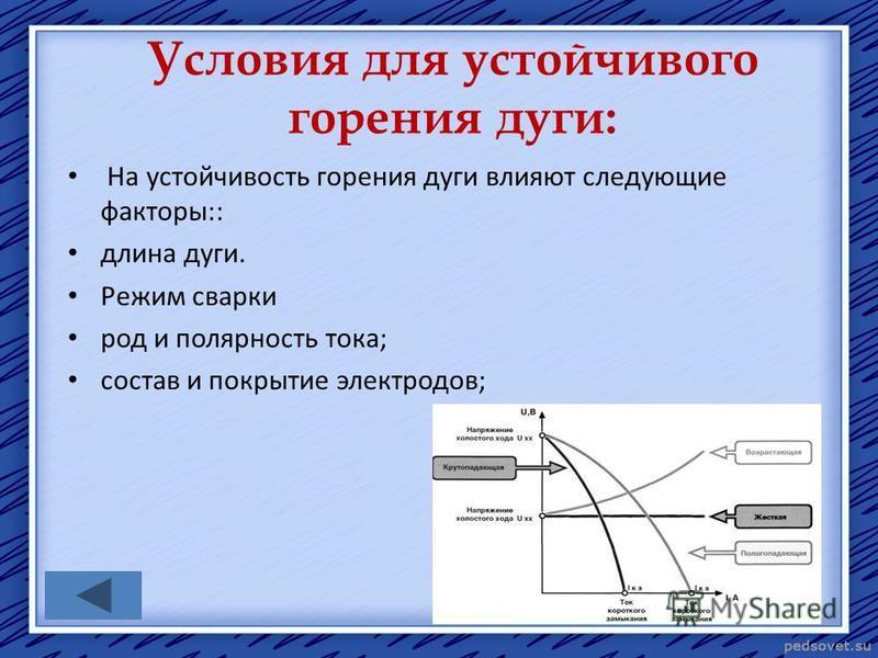 Условия для устойчивого горения дуги: На устойчивость горения дуги влияют следующие факторы:: длина дуги. Режим сварки род и полярность тока; состав и покрытие электродов;