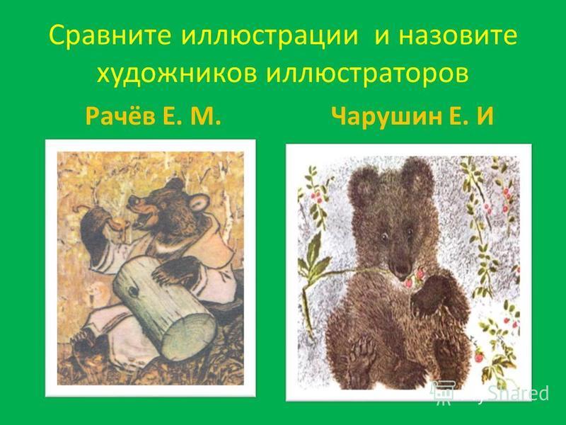 Сравните иллюстрации и назовите художников иллюстраторов Рачёв Е. М.Чарушин Е. И