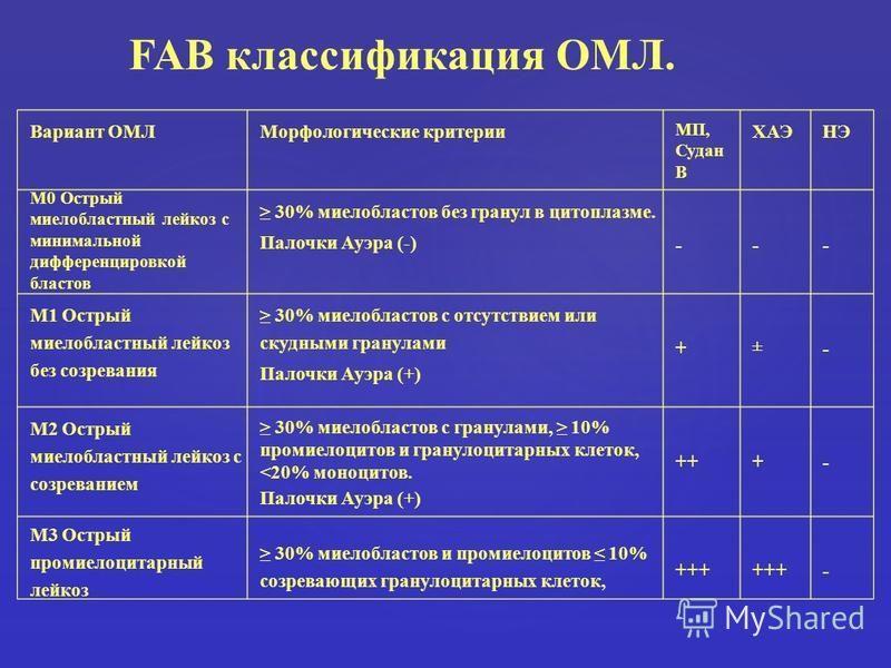 Вариант ОМЛМорфологические критерии МП, Судан В ХАЭНЭ М0 Острый миелобластный лейкоз с минимальной дифференцировкой бластов 30% миелобластов без гранул в цитоплазме. Палочки Ауэра (-) --- М1 Острый миелобластный лейкоз без созревания 30% миелобластов