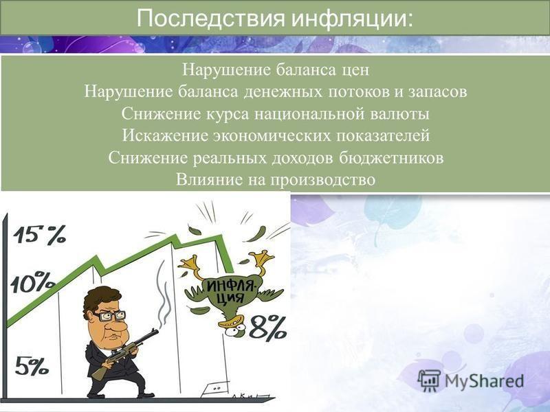 Последствия инфляции: Нарушение баланса цен Нарушение баланса денежных потоков и запасов Снижение курса национальной валюты Искажение экономических показателей Снижение реальных доходов бюджетников Влияние на производство