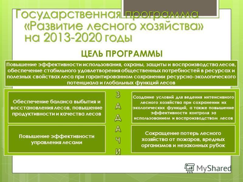 Государственная программа «Развитие лесного хозяйства» на 2013-2020 годы ЦЕЛЬ ПРОГРАММЫ Сокращение потерь лесного хозяйства от пожаров, вредных организмов и незаконных рубок Обеспечение баланса выбытия и восстановления лесов, повышение продуктивности