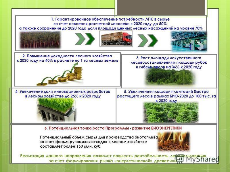 1. Гарантированное обеспечение потребности ЛПК в сырье за счет освоения расчетной лесосеки к 2020 году до 50%, а так же сохранение до 2020 года доли площади ценных лесных насаждений на уровне 70% 2. Повышение доходности лесного хозяйства к 2020 году
