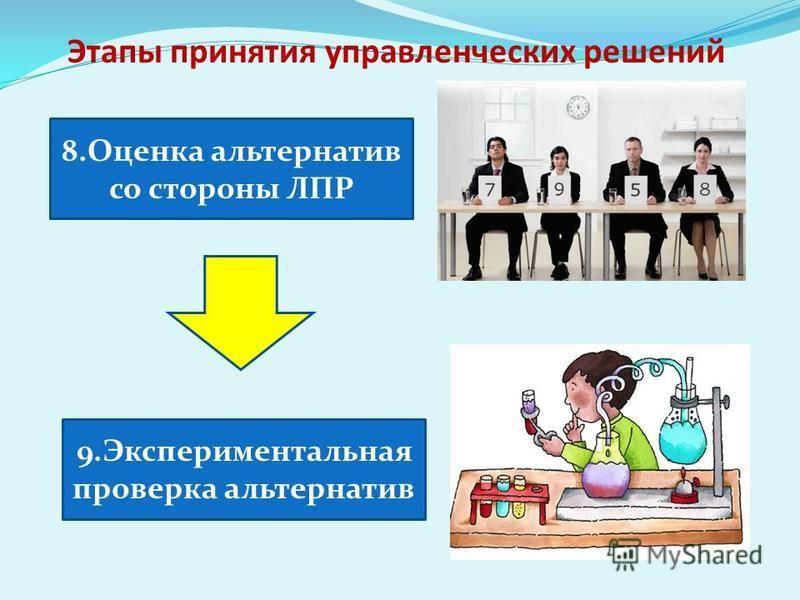 Этапы принятия управленческих решений 8. Оценка альтернатив со стороны ЛПР 9. Экспериментальная проверка альтернатив
