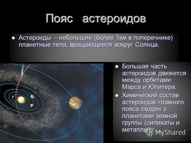 Пояс астероидов Астероиды - небольшие (более 1 км в поперечнике) планетные тела, вращающиеся вокруг Солнца. Астероиды - небольшие (более 1 км в поперечнике) планетные тела, вращающиеся вокруг Солнца. Большая часть астероидов движется между орбитами М
