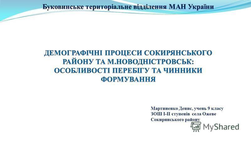 Мартиненко Денис, учень 9 класу ЗОШ І-ІІ ступенів села Ожеве Сокирянського району