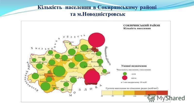 Кількість населення в Сокирянському районі та м.Новодністровськ