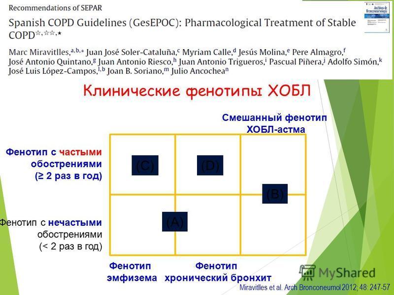 Miravitlles et al. Arch Bronconeumol 2012; 48: 247-57 (B) (A) (C)(D) Фенотип с частыми обострениями ( 2 раз в год) Фенотип с нечастыми обострениями (< 2 раз в год) Фенотип эмфизема Фенотип хронический бронхит Смешанный фенотип ХОБЛ-астма Клинические