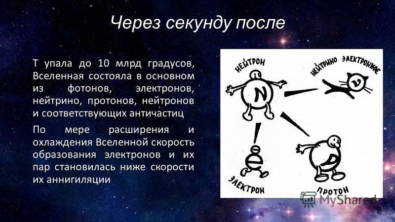 Через секунду после T упала до 10 млрд градусов, Вселенная состояла в основном из фотонов, электронов, нейтрино, протонов, нейтронов и соответствующих античастиц По мере расширения и охлаждения Вселенной скорость образования электронов и их пар стано