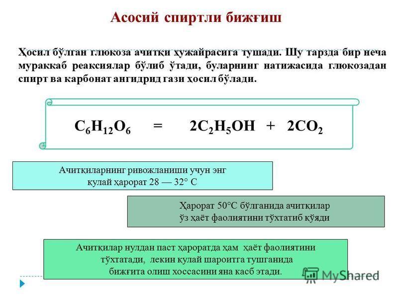 C 6 H 12 O 6 = 2C 2 H 5 OH + 2CO 2 Ҳосил бўлган глюкоза ачитқи ҳужайрасига тушади. Шу тарзда бир неча мураккаб реаксиялар бўлиб ўтади, буларнинг натижасида глюкоза дан спирт ва карбонат ангидрид гази ҳосил бўлади. Ачитқиларнинг ривожланиши учун инг қ