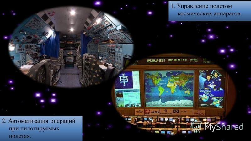 1. Управление полетом космических аппаратов. 2. Автоматизация операций при пилотируемых полетах.