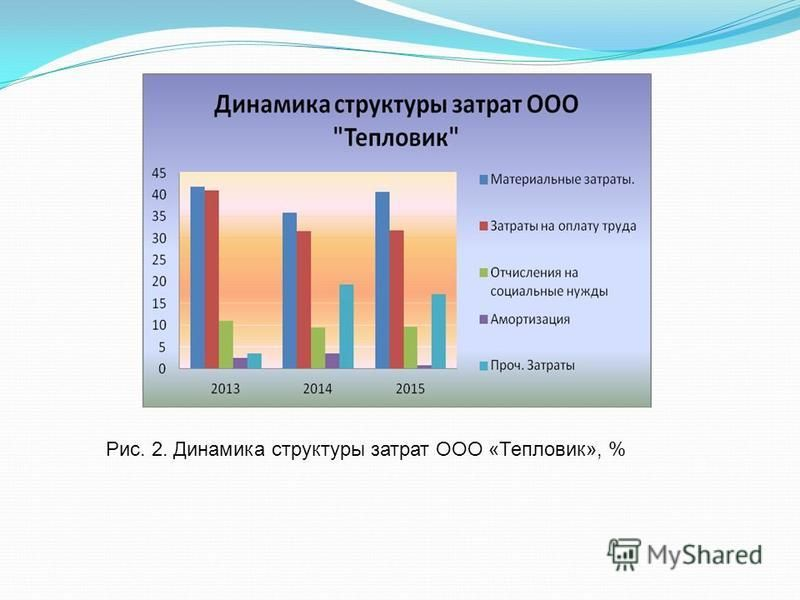 Рис. 2. Динамика структуры затрат ООО «Тепловик», %