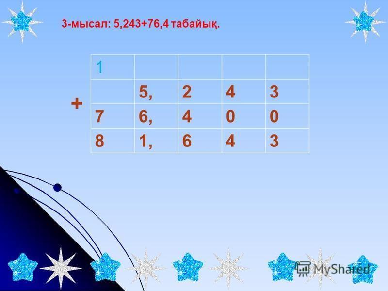 3-мысал: 5,243+76,4 табайық. 1 5,243 76,400 81,643 +