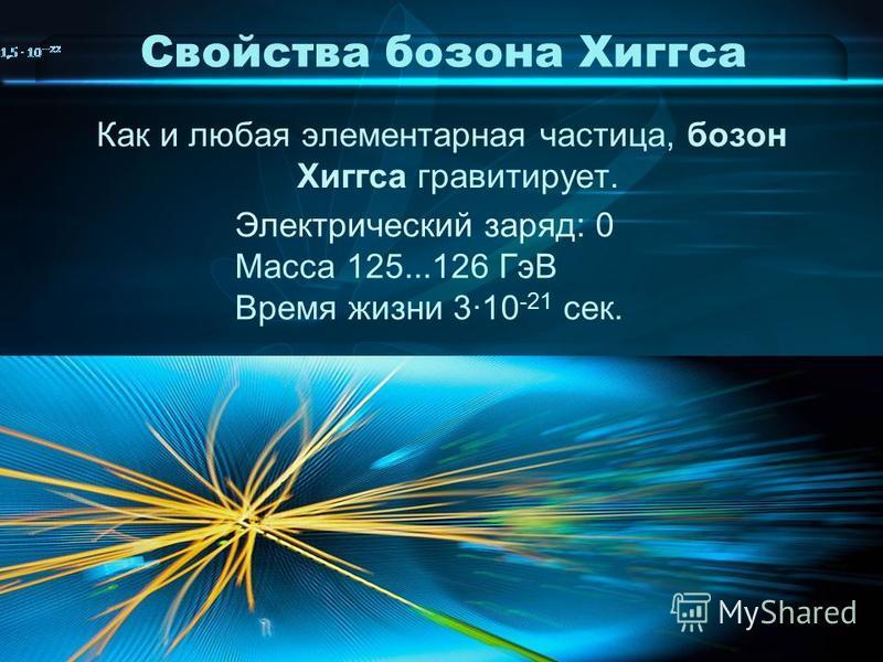 Свойства бозона Хиггса Как и любая элементарная частица, бозон Хиггса гравитирует. Электрический заряд: 0 Масса 125...126 ГэВ Время жизни 3·10 -21 сек.