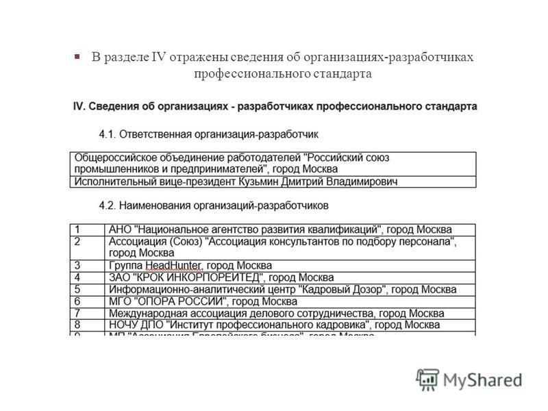 В разделе IV отражены сведения об организациях-разработчиках профессионального стандарта
