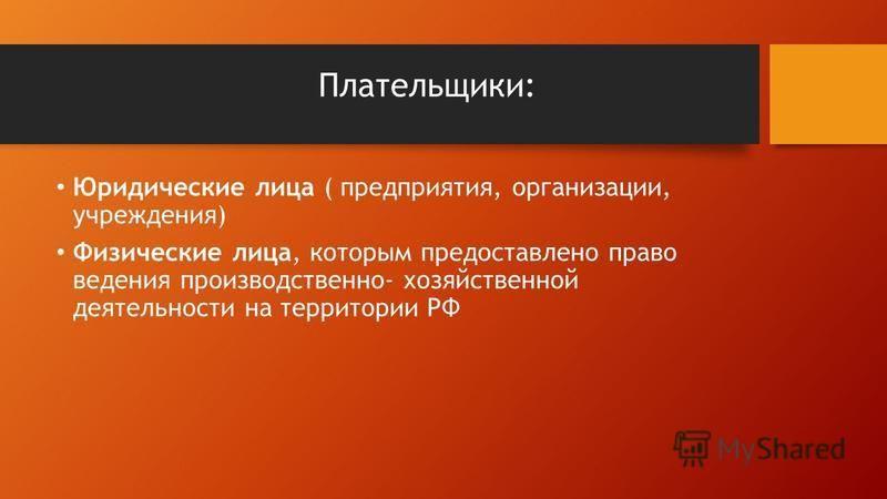 Плательщики: Юридические лица ( предприятия, организации, учреждения) Физические лица, которым предоставлено право ведения производственно- хозяйственной деятельности на территории РФ