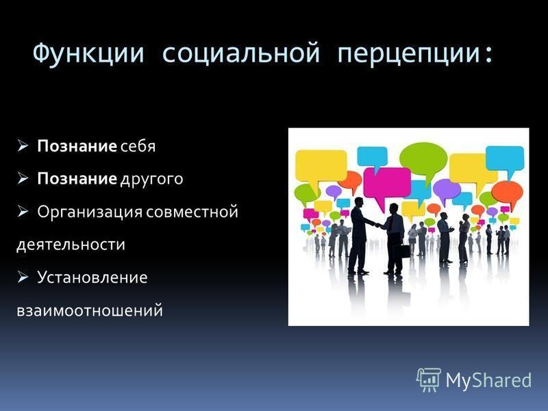 Функции социальной перцепции: Познание себя Познание другого Организация совместной деятельности Установление взаимоотношений