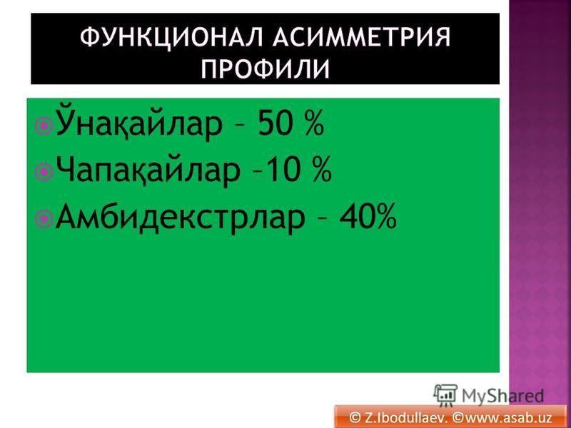 Ўна қ айлар – 50 % Чапа қ айлар –10 % Амбидекстрлар – 40% © Z.Ibodullaev. ©www.asab.uz