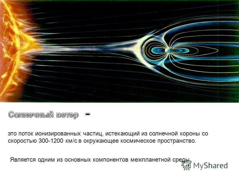 это поток ионизированных частиц, истекающий из солнечной короны со скоростью 300-1200 км/с в окружающее космическое пространство. Является одним из основных компонентов межпланетной среды.