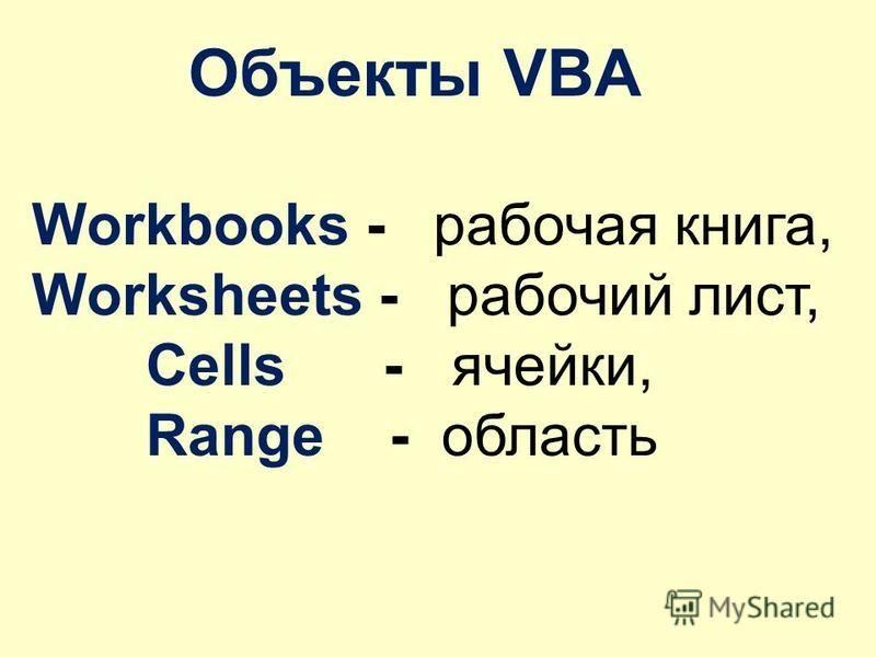 Объекты VBA Workbooks - рабочая книга, Worksheets - рабочий лист, Cells - ячейки, Range - область
