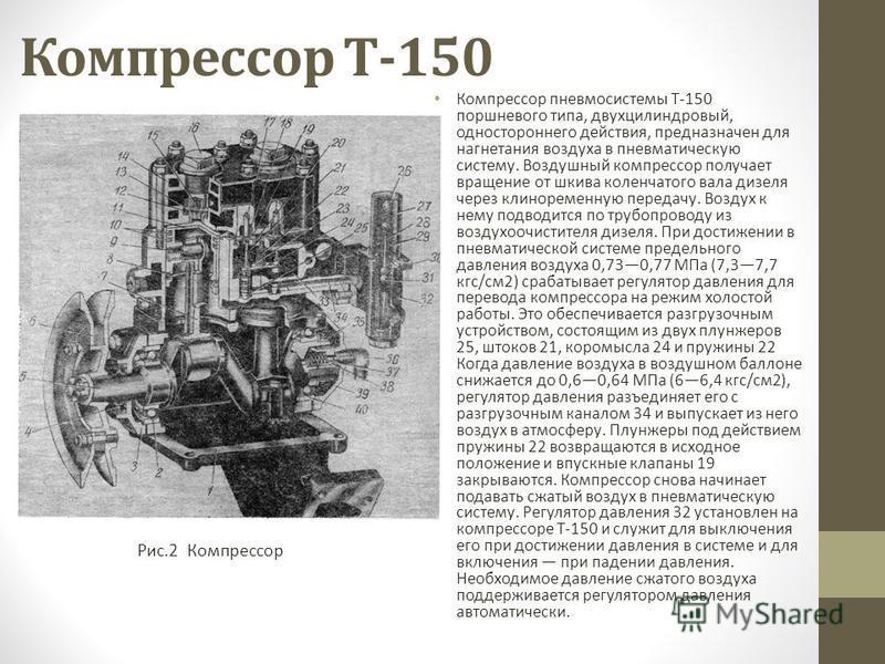 Компрессор Т-150 Компрессор пневмосистемы Т-150 поршневого типа, двухцилиндровый, одностороннего действия, предназначен для нагнетания воздуха в пневматическую систему. Воздушный компрессор получает вращение от шкива коленчатого вала дизеля через кли