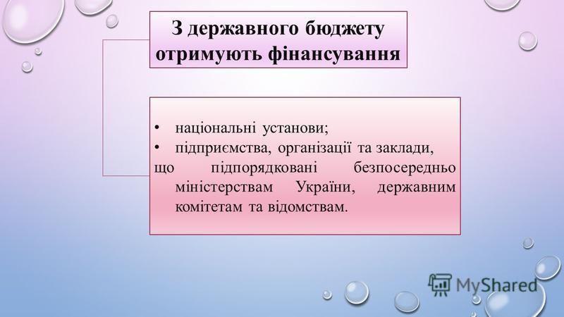 З державного бюджету отримують фінансування національні установи; підприємства, організації та заклади, що підпорядковані безпосередньо міністерствам України, державним комітетам та відомствам.