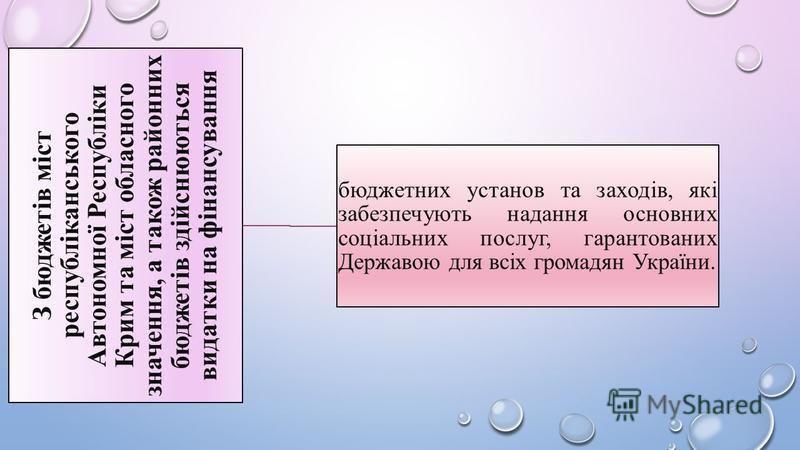 З бюджетів міст республіканського Автономної Республіки Крим та міст обласного значення, а також районних бюджетів здійснюються видатки на фінансування бюджетних установ та заходів, які забезпечують надання основних соціальних послуг, гарантованих Д